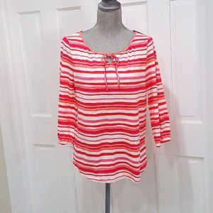TALBOTS WOMEN'S TOP PINK MULTI SIZE SMALL